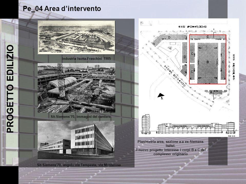 PROGETTO EDILIZIO Pe_04 Area dintervento Industria Isotta-Fraschini 1905 Sit-Siemens70, angolo via Tempesta, via Monterosa Sit-Siemens70, immagini del