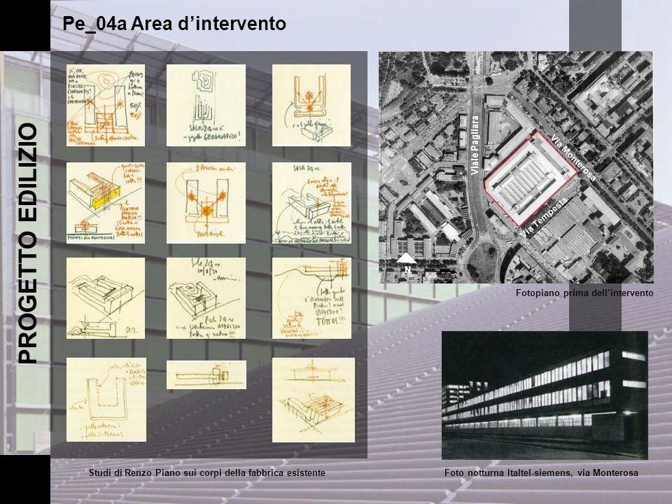 PROGETTO EDILIZIO Pe_04a Area dintervento Via Monterosa Viale Pagliara Via Tempesta N Fotopiano prima dellintervento Studi di Renzo Piano sui corpi de