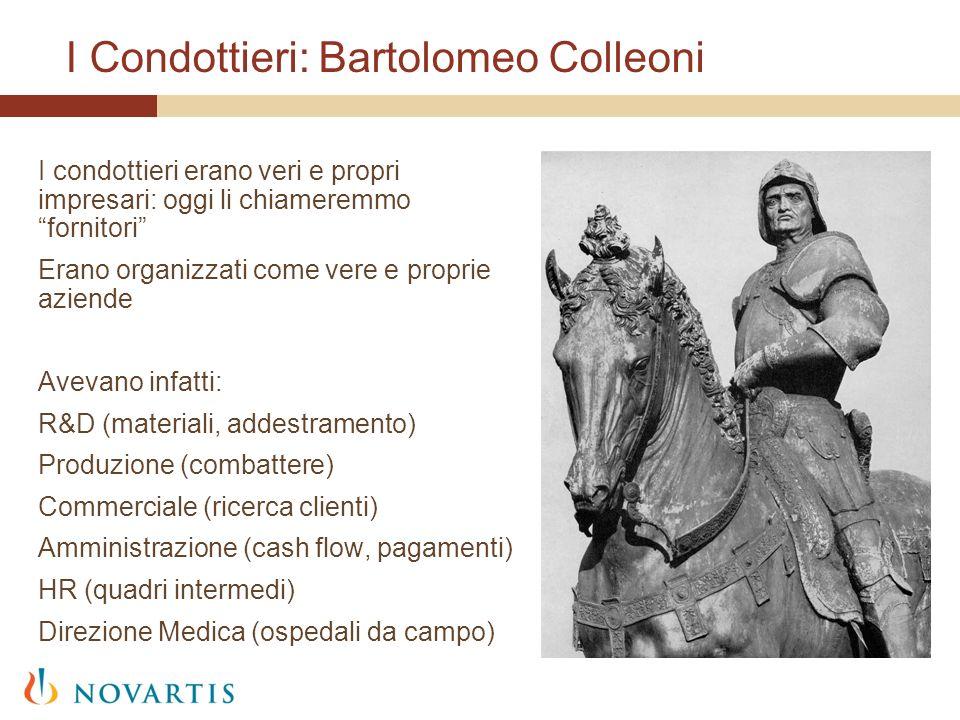 I Condottieri: Bartolomeo Colleoni I condottieri erano veri e propri impresari: oggi li chiameremmo fornitori Erano organizzati come vere e proprie az