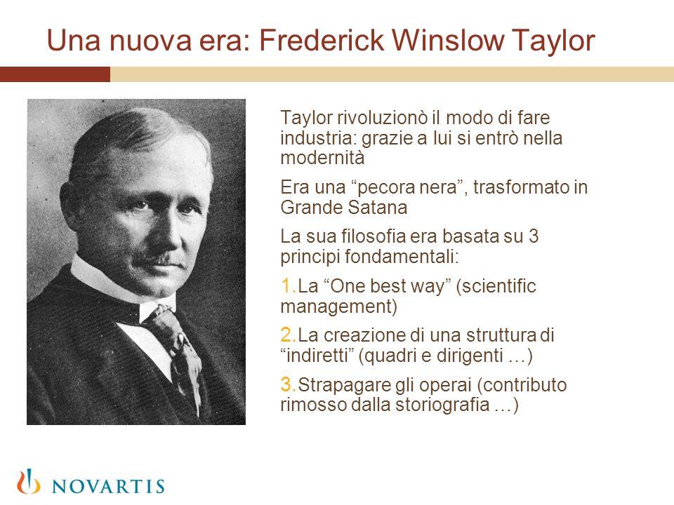 Una nuova era: Frederick Winslow Taylor Taylor rivoluzionò il modo di fare industria: grazie a lui si entrò nella modernità Era una pecora nera, trasf