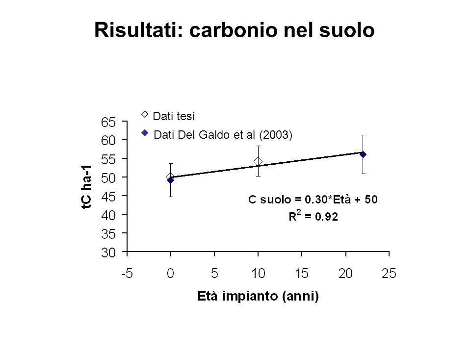 Dati tesi Dati Del Galdo et al (2003) Risultati: carbonio nel suolo