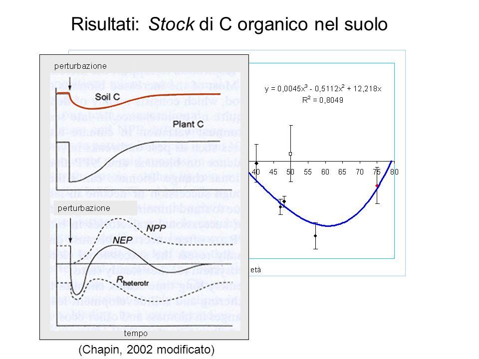 Risultati: Stock di C organico nel suolo (Chapin, 2002 modificato)
