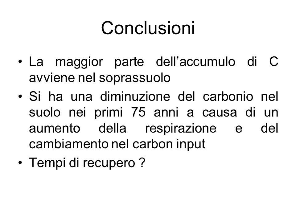 Conclusioni La maggior parte dellaccumulo di C avviene nel soprassuolo Si ha una diminuzione del carbonio nel suolo nei primi 75 anni a causa di un au