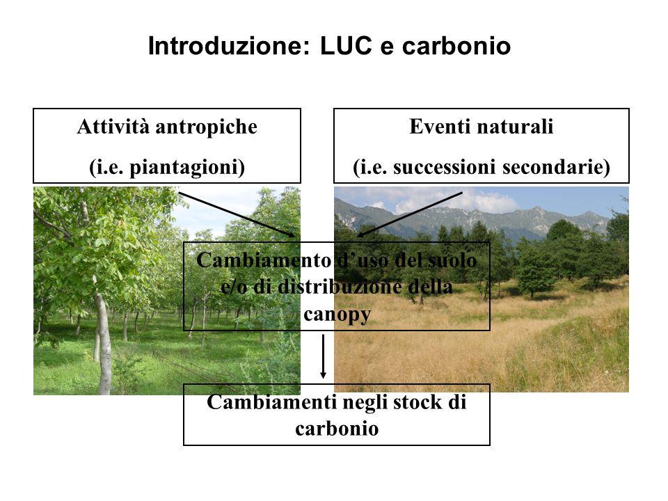 Introduzione: LUC e carbonio Cambiamento duso del suolo e/o di distribuzione della canopy Attività antropiche (i.e. piantagioni) Eventi naturali (i.e.