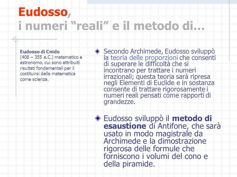 Eudosso, i numeri reali e il metodo di… Secondo Archimede, Eudosso sviluppò la teoria delle proporzioni che consentì di superare le difficoltà che si