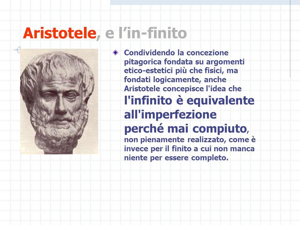 Aristotele, e lin-finito Condividendo la concezione pitagorica fondata su argomenti etico-estetici più che fisici, ma fondati logicamente, anche Arist