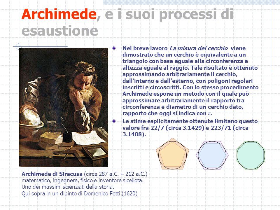 Archimede, e i suoi processi di esaustione Nel breve lavoro La misura del cerchio viene dimostrato che un cerchio è equivalente a un triangolo con bas