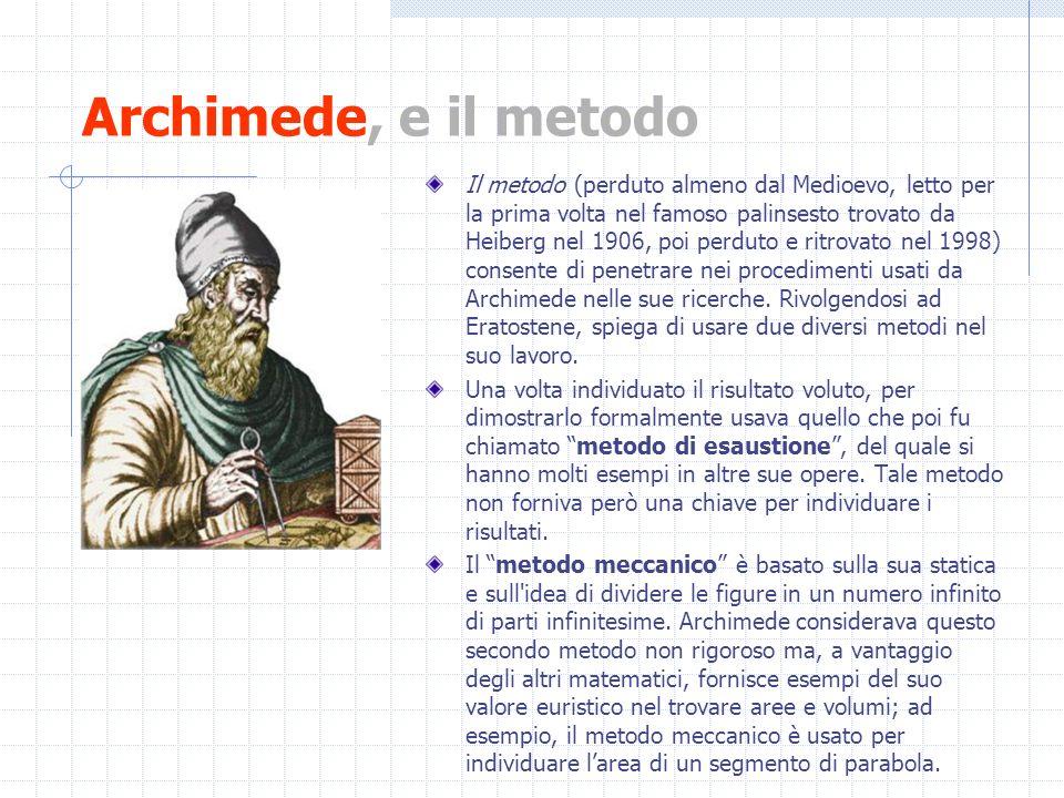 Archimede, e il metodo Il metodo (perduto almeno dal Medioevo, letto per la prima volta nel famoso palinsesto trovato da Heiberg nel 1906, poi perduto