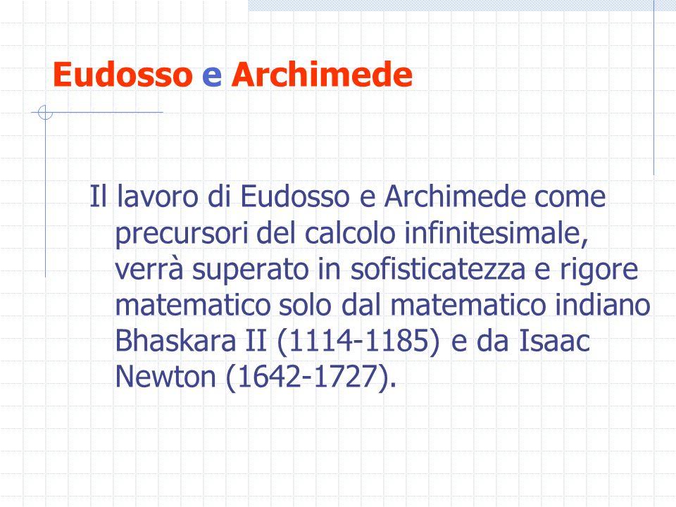 Eudosso e Archimede Il lavoro di Eudosso e Archimede come precursori del calcolo infinitesimale, verrà superato in sofisticatezza e rigore matematico