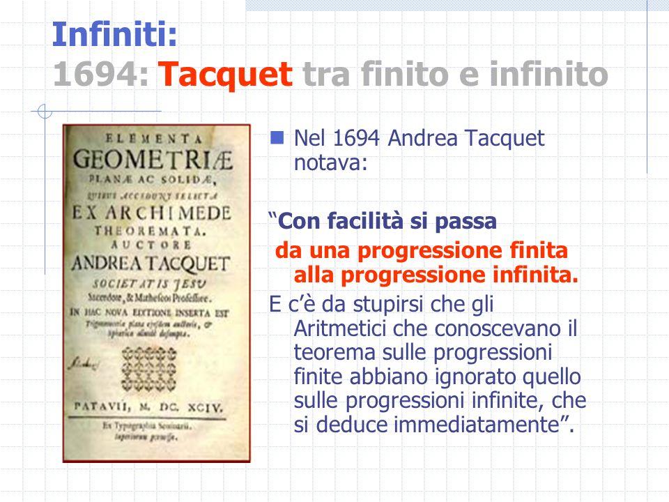 Infiniti: 1694: Tacquet tra finito e infinito Nel 1694 Andrea Tacquet notava: Con facilità si passa da una progressione finita alla progressione infin