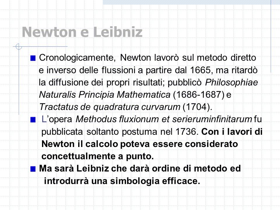 Cronologicamente, Newton lavorò sul metodo diretto e inverso delle flussioni a partire dal 1665, ma ritardò la diffusione dei propri risultati; pubbli