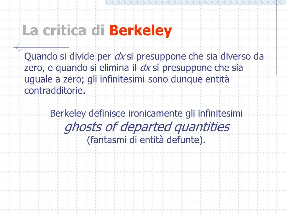 La critica di Berkeley Quando si divide per dx si presuppone che sia diverso da zero, e quando si elimina il dx si presuppone che sia uguale a zero; g