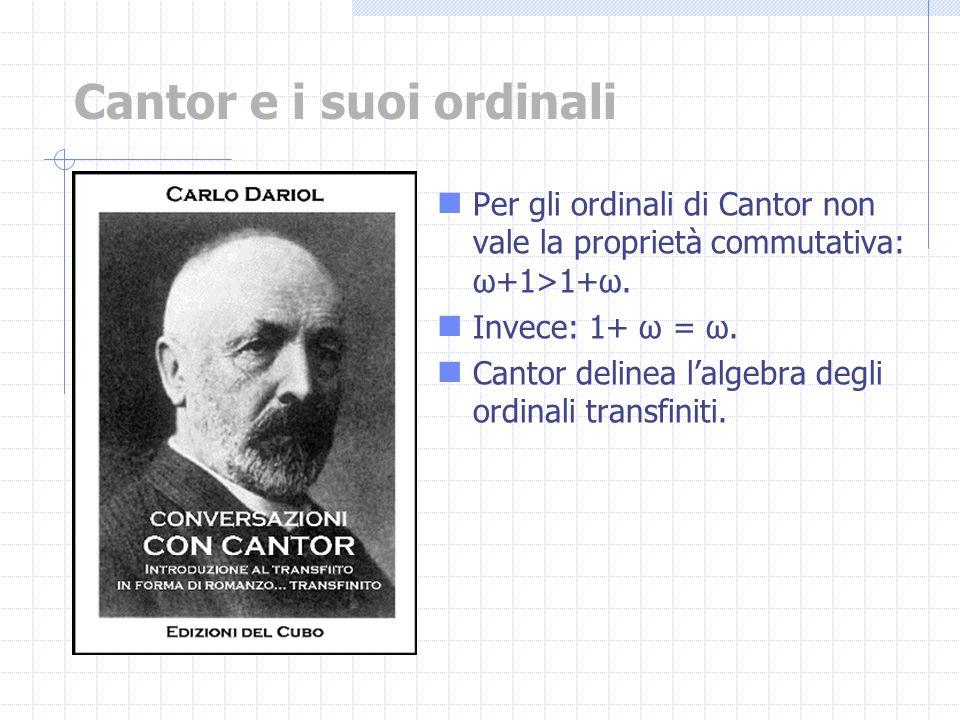 Per gli ordinali di Cantor non vale la proprietà commutativa: ω+1>1+ω. Invece: 1+ ω = ω. Cantor delinea lalgebra degli ordinali transfiniti. Cantor e