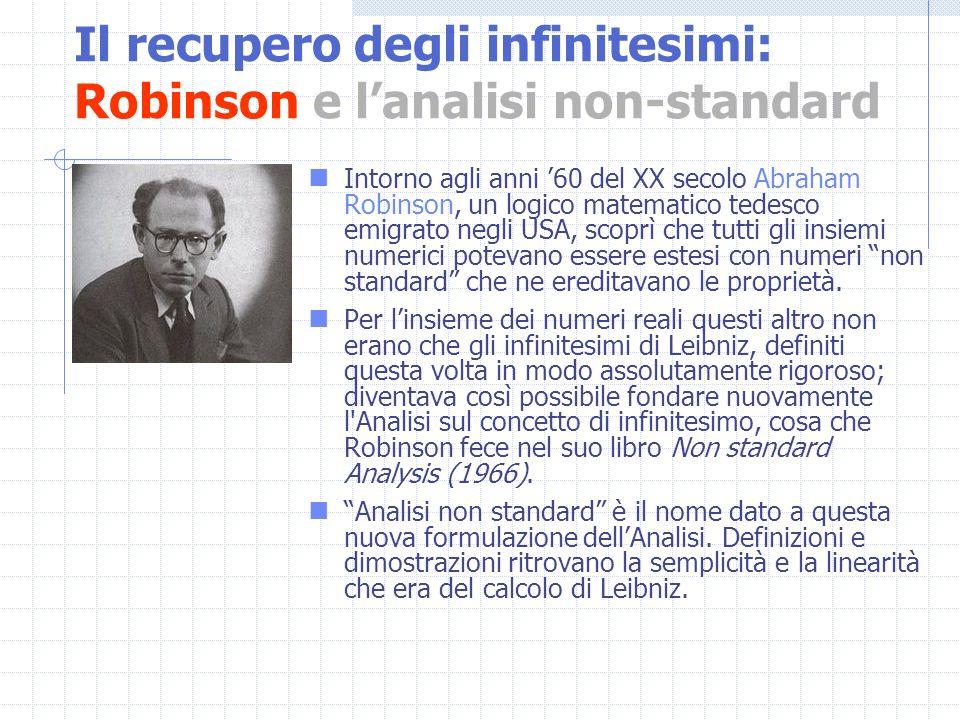 Intorno agli anni 60 del XX secolo Abraham Robinson, un logico matematico tedesco emigrato negli USA, scoprì che tutti gli insiemi numerici potevano e