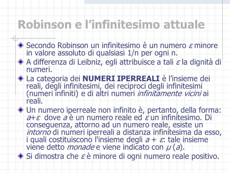 Secondo Robinson un infinitesimo è un numero ε minore in valore assoluto di qualsiasi 1/n per ogni n. A differenza di Leibniz, egli attribuisce a tali