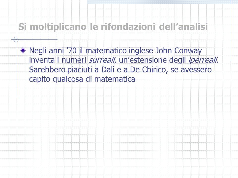 Negli anni 70 il matematico inglese John Conway inventa i numeri surreali, unestensione degli iperreali. Sarebbero piaciuti a Dalì e a De Chirico, se