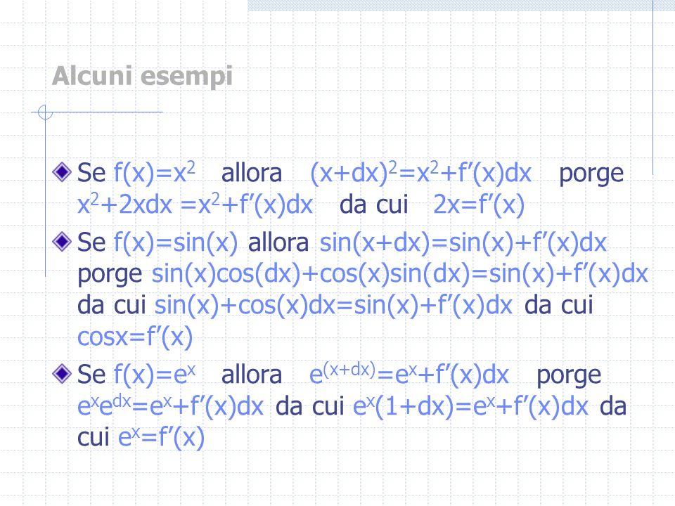 Alcuni esempi Se f(x)=x 2 allora (x+dx) 2 =x 2 +f(x)dx porge x 2 +2xdx =x 2 +f(x)dx da cui 2x=f(x) Se f(x)=sin(x) allora sin(x+dx)=sin(x)+f(x)dx porge