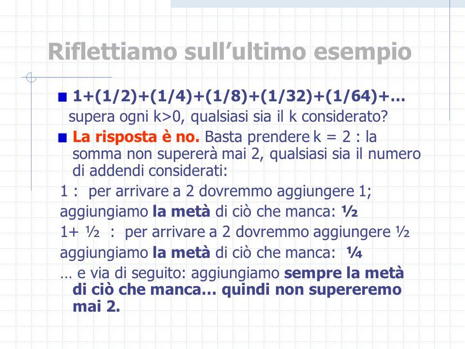 Riflettiamo sullultimo esempio 1+(1/2)+(1/4)+(1/8)+(1/32)+(1/64)+… supera ogni k>0, qualsiasi sia il k considerato? La risposta è no. Basta prendere k