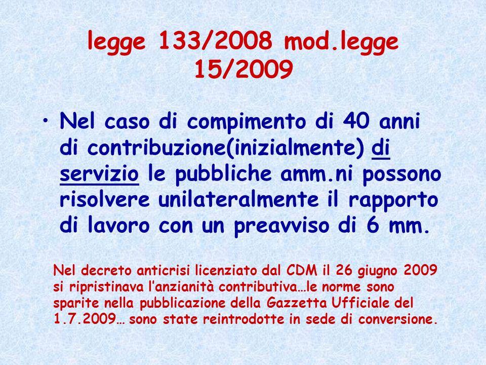 legge 133/2008 mod.legge 15/2009 Nel caso di compimento di 40 anni di contribuzione(inizialmente) di servizio le pubbliche amm.ni possono risolvere un