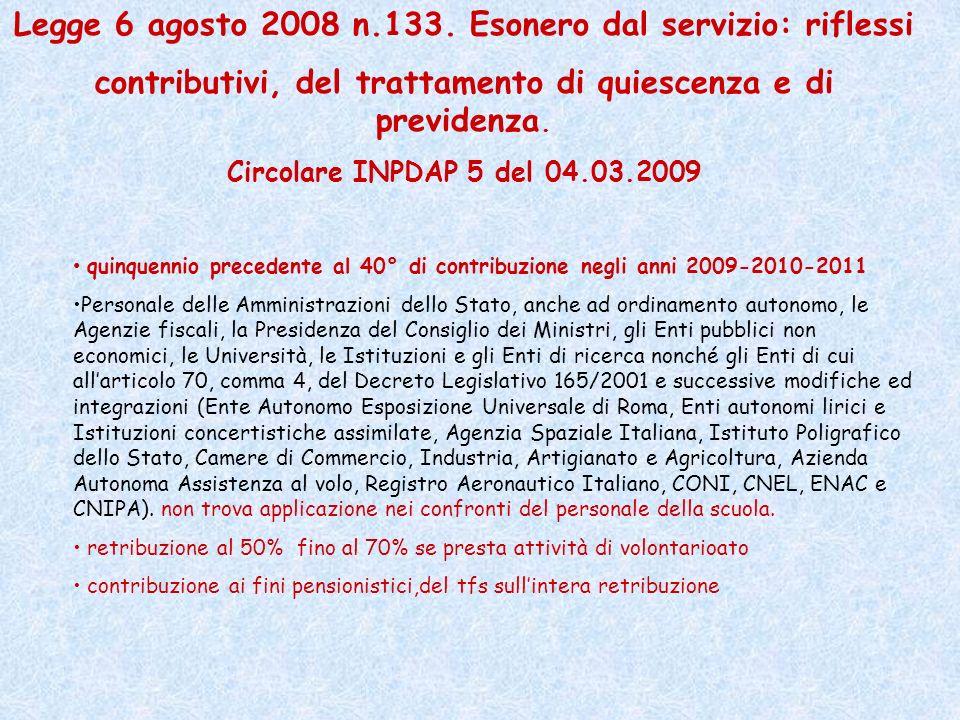 Legge 6 agosto 2008 n.133. Esonero dal servizio: riflessi contributivi, del trattamento di quiescenza e di previdenza. Circolare INPDAP 5 del 04.03.20