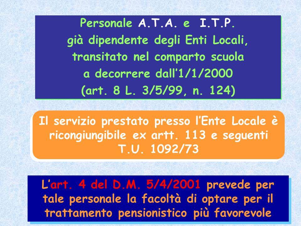 Personale A.T.A. e I.T.P. già dipendente degli Enti Locali, transitato nel comparto scuola a decorrere dall1/1/2000 (art. 8 L. 3/5/99, n. 124) Persona