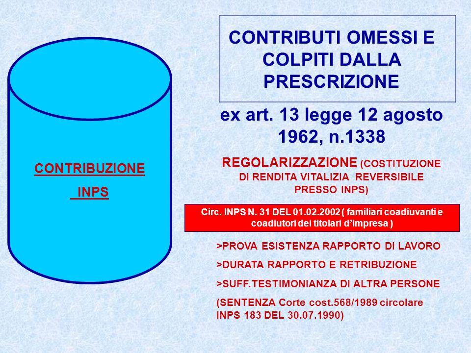CONTRIBUZIONE INPS CONTRIBUTI OMESSI E COLPITI DALLA PRESCRIZIONE ex art. 13 legge 12 agosto 1962, n.1338 REGOLARIZZAZIONE (COSTITUZIONE DI RENDITA VI