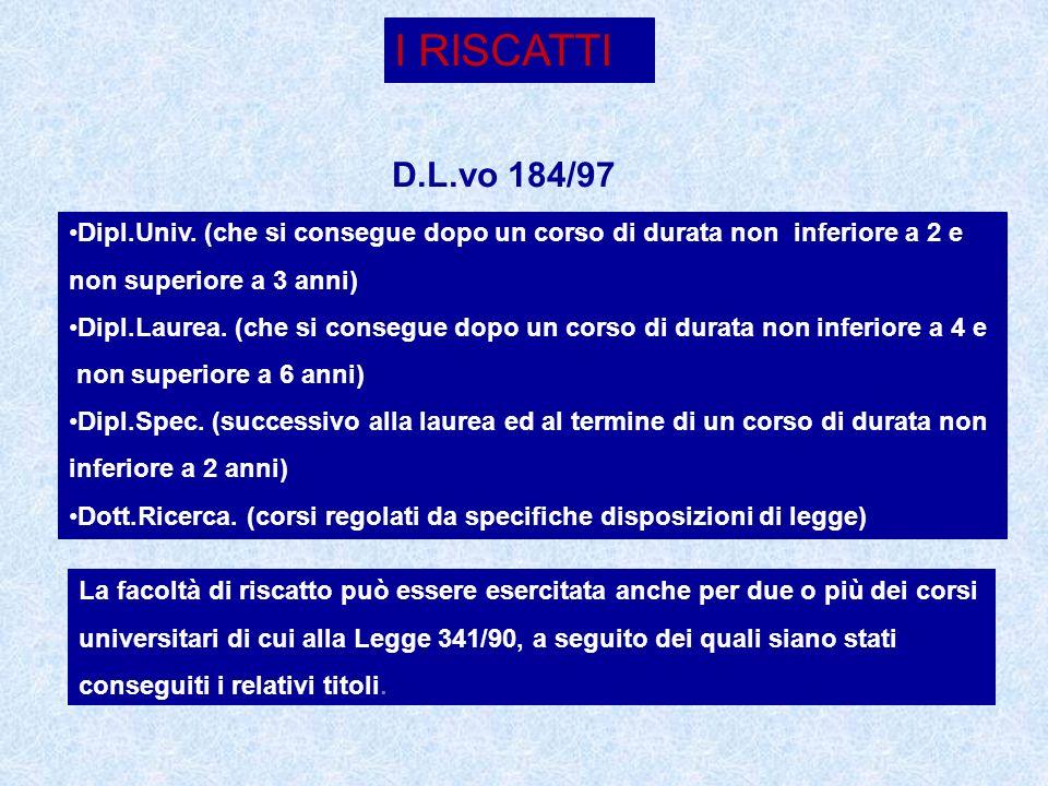 I RISCATTI D.L.vo 184/97 Dipl.Univ. (che si consegue dopo un corso di durata non inferiore a 2 e non superiore a 3 anni) Dipl.Laurea. (che si consegue