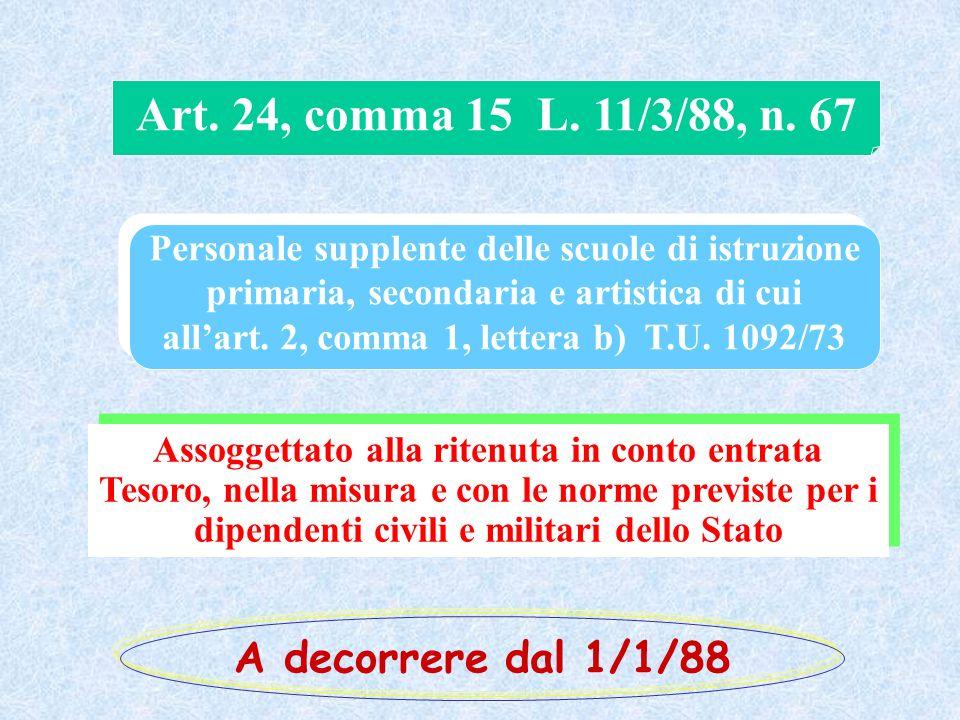Art. 24, comma 15 L. 11/3/88, n. 67 Personale supplente delle scuole di istruzione primaria, secondaria e artistica di cui allart. 2, comma 1, lettera