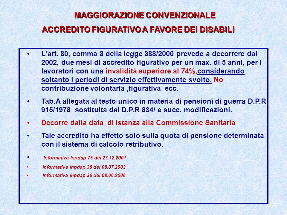 MAGGIORAZIONE CONVENZIONALE ACCREDITO FIGURATIVO A FAVORE DEI DISABILI Lart. 80, comma 3 della legge 388/2000 prevede a decorrere dal 2002, due mesi d