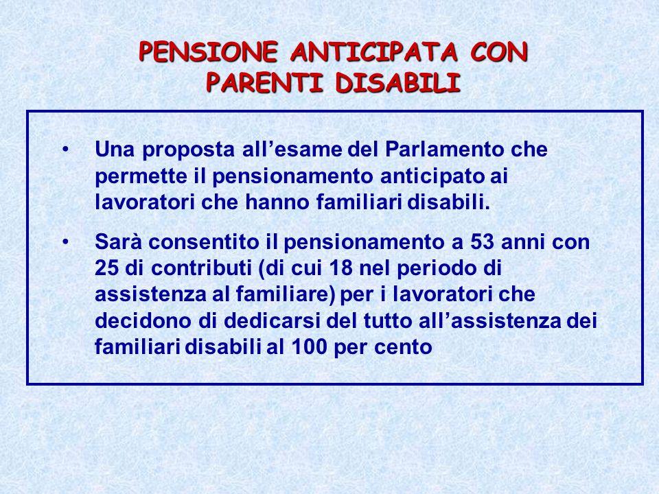 PENSIONE ANTICIPATA CON PARENTI DISABILI Una proposta allesame del Parlamento che permette il pensionamento anticipato ai lavoratori che hanno familia