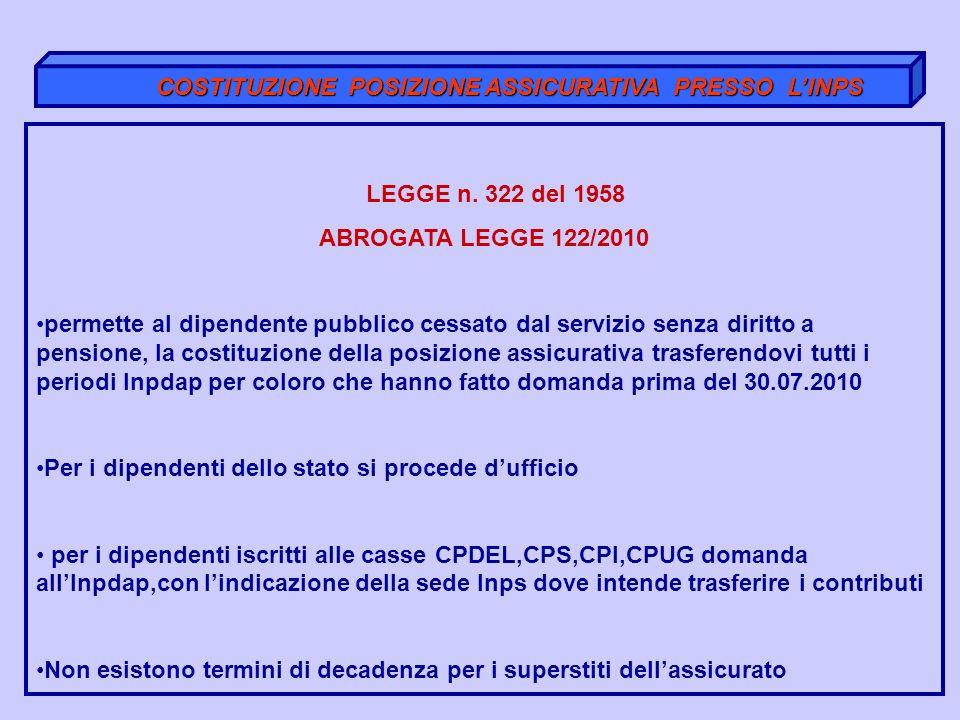 COSTITUZIONE POSIZIONE ASSICURATIVA PRESSO LINPS COSTITUZIONE POSIZIONE ASSICURATIVA PRESSO LINPS LEGGE n. 322 del 1958 ABROGATA LEGGE 122/2010 permet