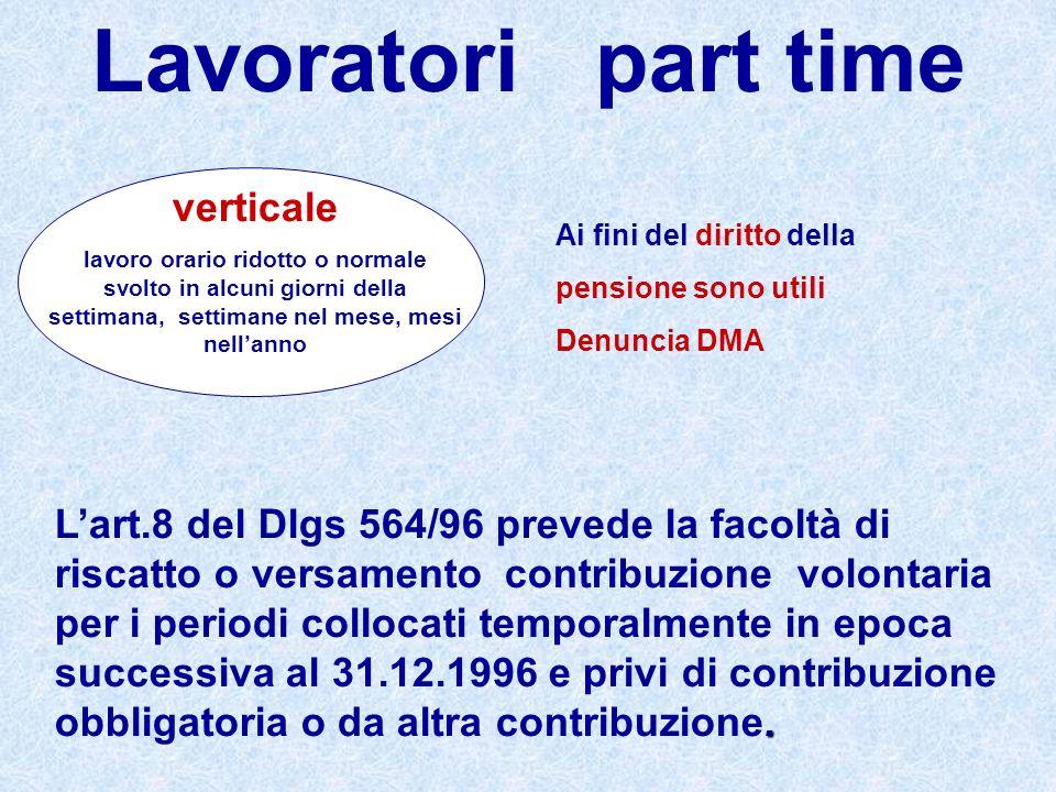 Lavoratori part time verticale lavoro orario ridotto o normale svolto in alcuni giorni della settimana, settimane nel mese, mesi nellanno Ai fini del