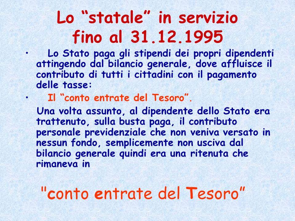 Lo statale in servizio fino al 31.12.1995 Lo Stato paga gli stipendi dei propri dipendenti attingendo dal bilancio generale, dove affluisce il contrib