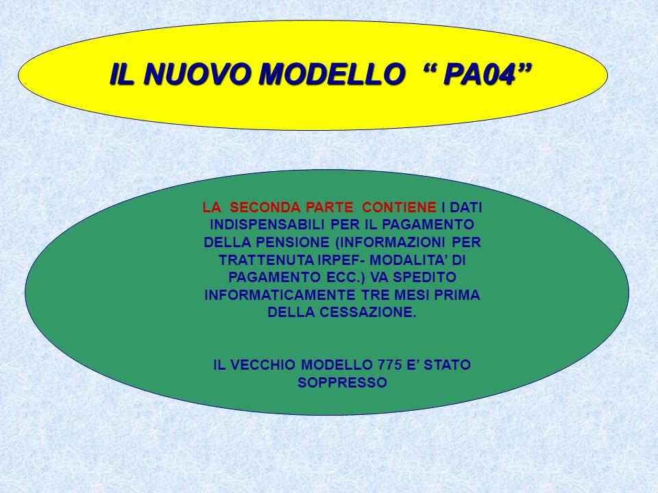 IL NUOVO MODELLO PA04 LA SECONDA PARTE CONTIENE I DATI INDISPENSABILI PER IL PAGAMENTO DELLA PENSIONE (INFORMAZIONI PER TRATTENUTA IRPEF- MODALITA DI