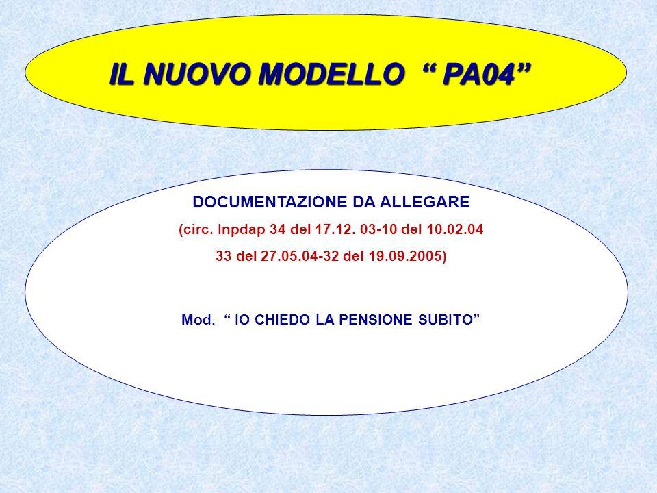 IL NUOVO MODELLO PA04 DOCUMENTAZIONE DA ALLEGARE (circ. Inpdap 34 del 17.12. 03-10 del 10.02.04 33 del 27.05.04-32 del 19.09.2005) Mod. IO CHIEDO LA P