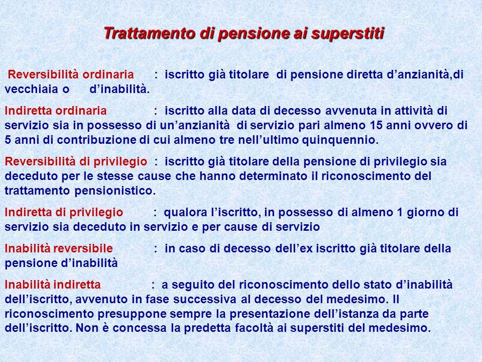 Trattamento di pensione ai superstiti Reversibilità ordinaria : iscritto già titolare di pensione diretta danzianità,di vecchiaia o dinabilità. Indire