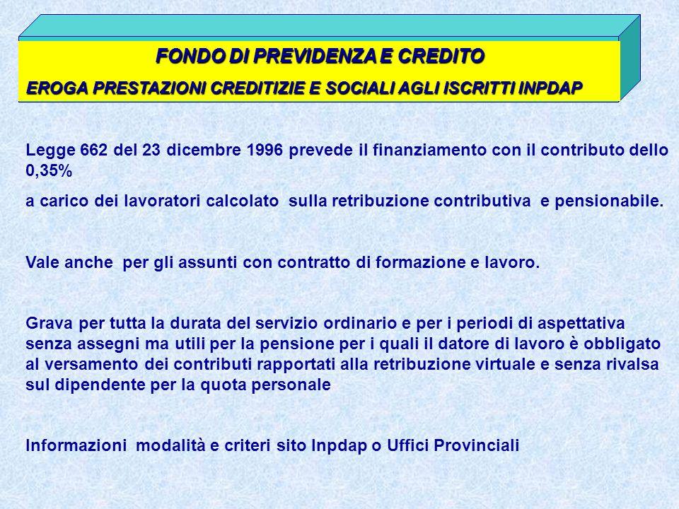FONDO DI PREVIDENZA E CREDITO EROGA PRESTAZIONI CREDITIZIE E SOCIALI AGLI ISCRITTI INPDAP Legge 662 del 23 dicembre 1996 prevede il finanziamento con