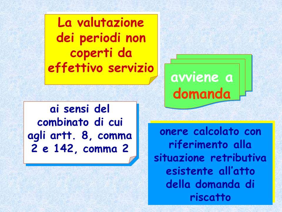 La valutazione dei periodi non coperti da effettivo servizio ai sensi del combinato di cui agli artt. 8, comma 2 e 142, comma 2 onere calcolato con ri