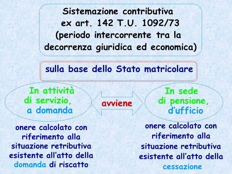 Sistemazione contributiva ex art. 142 T.U. 1092/73 (periodo intercorrente tra la decorrenza giuridica ed economica) In attività di servizio, a domanda