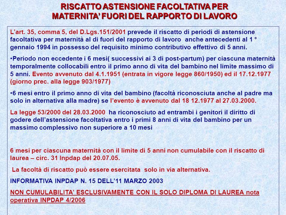 RISCATTO ASTENSIONE FACOLTATIVA PER MATERNITA FUORI DEL RAPPORTO DI LAVORO Lart. 35, comma 5, del D.Lgs.151/2001 prevede il riscatto di periodi di ast