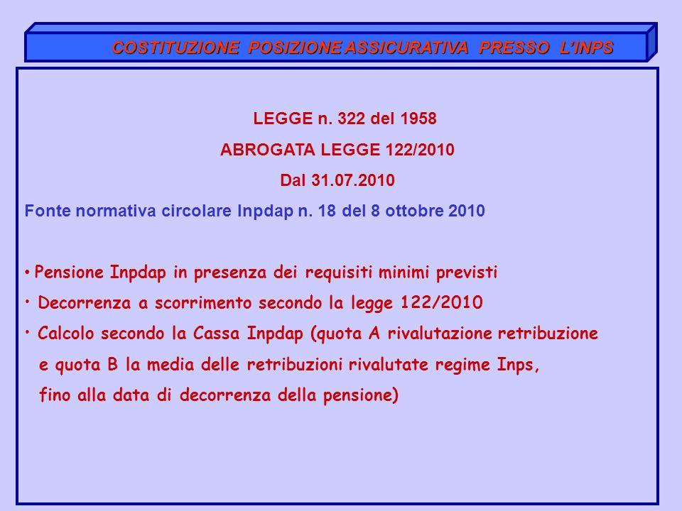 COSTITUZIONE POSIZIONE ASSICURATIVA PRESSO LINPS COSTITUZIONE POSIZIONE ASSICURATIVA PRESSO LINPS LEGGE n. 322 del 1958 ABROGATA LEGGE 122/2010 Dal 31