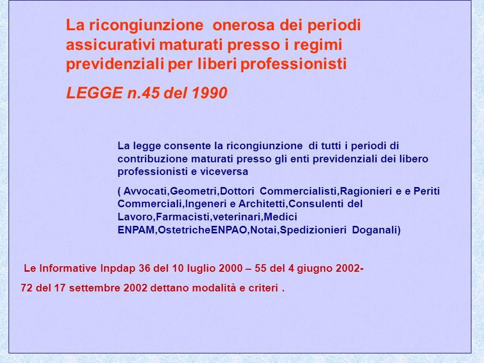 La ricongiunzione onerosa dei periodi assicurativi maturati presso i regimi previdenziali per liberi professionisti LEGGE n.45 del 1990 La legge conse