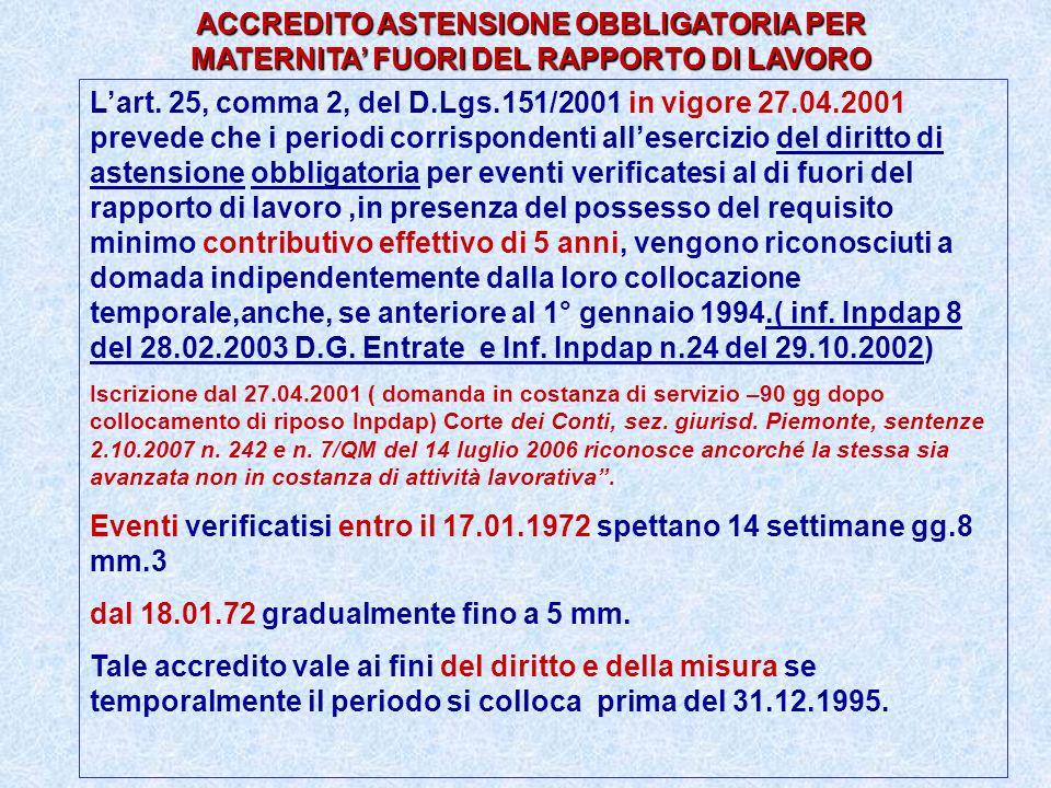 ACCREDITO ASTENSIONE OBBLIGATORIA PER MATERNITA FUORI DEL RAPPORTO DI LAVORO Lart. 25, comma 2, del D.Lgs.151/2001 in vigore 27.04.2001 prevede che i