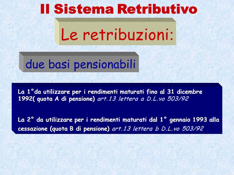 La 1°da utilizzare per i rendimenti maturati fino al 31 dicembre 1992( quota A di pensione) art.13 lettera a D.L.vo 503/92 La 2° da utilizzare per i r