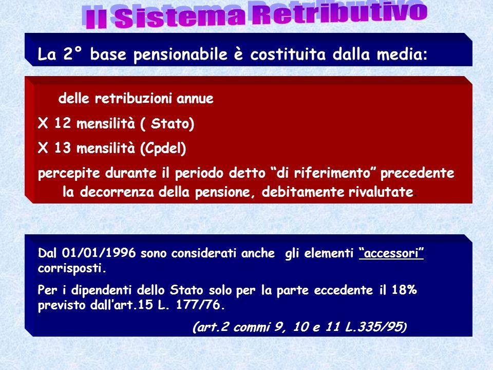 La 2° base pensionabile è costituita dalla media : delle retribuzioni annue X 12 mensilità ( Stato) X 13 mensilità (Cpdel) percepite durante il period