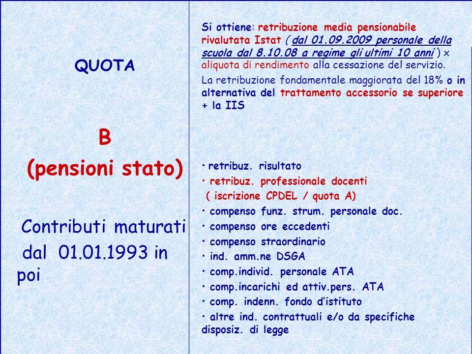 QUOTA B (pensioni stato) Contributi maturati dal 01.01.1993 in poi Si ottiene: retribuzione media pensionabile rivalutata Istat ( dal 01.09.2009 perso