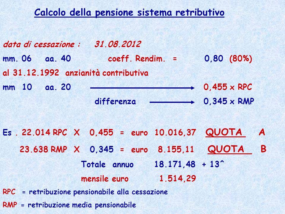 Calcolo della pensione sistema retributivo data di cessazione : 31.08.2012 mm. 06 aa. 40 coeff. Rendim. = 0,80 (80%) al 31.12.1992 anzianità contribut