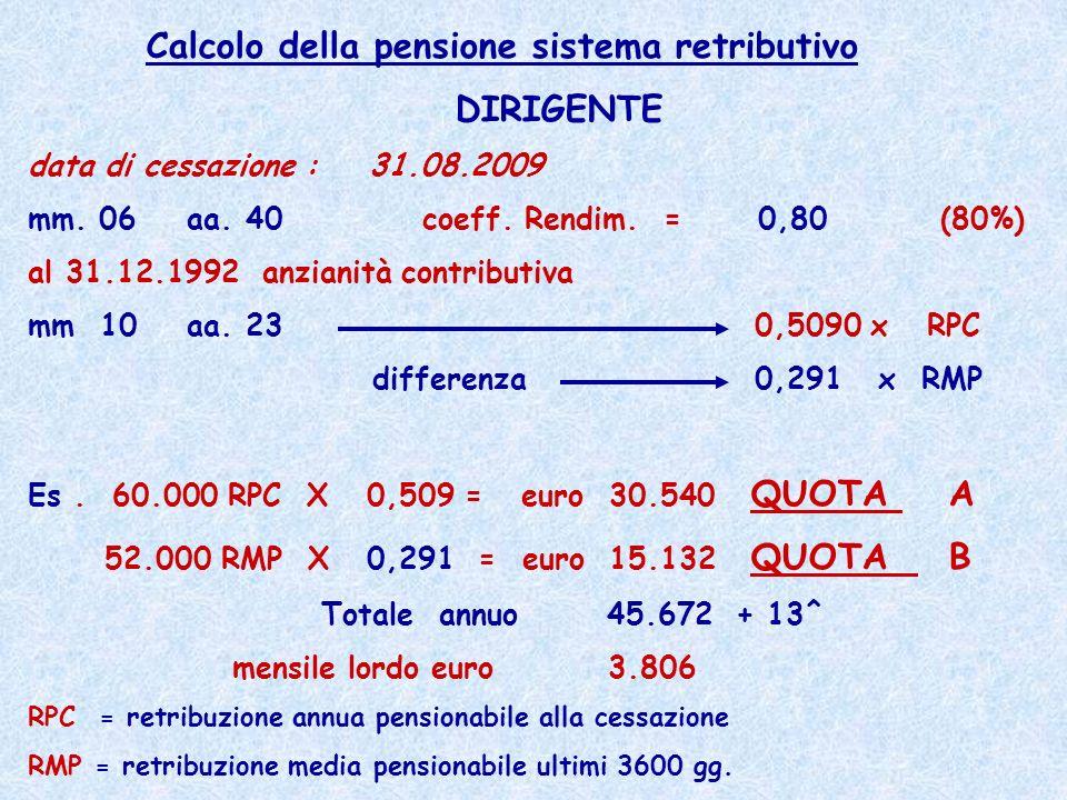 Calcolo della pensione sistema retributivo DIRIGENTE data di cessazione : 31.08.2009 mm. 06 aa. 40 coeff. Rendim. = 0,80 (80%) al 31.12.1992 anzianità