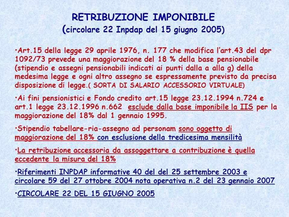 RETRIBUZIONE IMPONIBILE ( circolare 22 Inpdap del 15 giugno 2005) Art.15 della legge 29 aprile 1976, n. 177 che modifica lart.43 del dpr 1092/73 preve