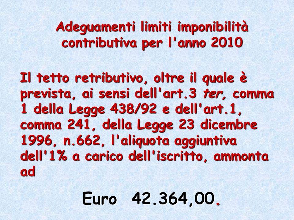 Adeguamenti limiti imponibilità contributiva per l'anno 2010 Il tetto retributivo, oltre il quale è prevista, ai sensi dell'art.3 ter, comma 1 della L